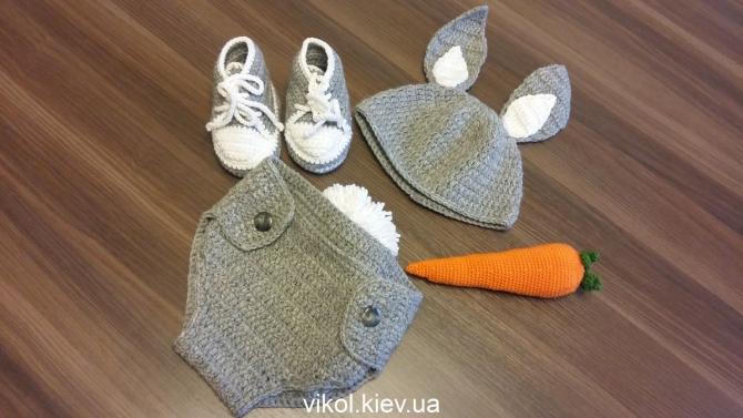 Костюм для фотосессии новорожденных Заяц на заказ купить в Киеве