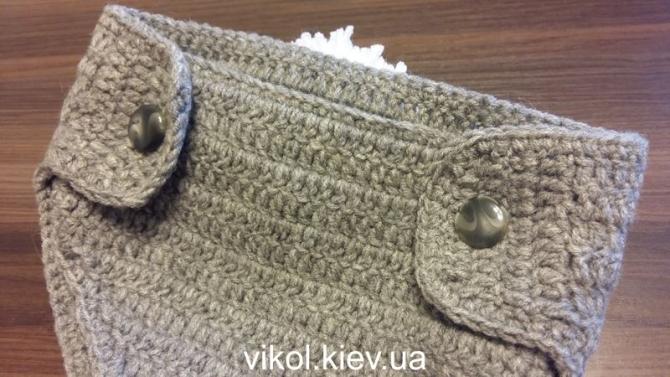 Вязаный крючком трусы на пуговицах для фотосессии новорожденному Заяц
