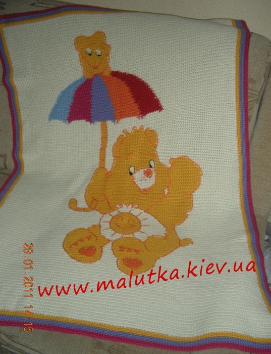 Плед спицами Мишка с зонтом на заказ