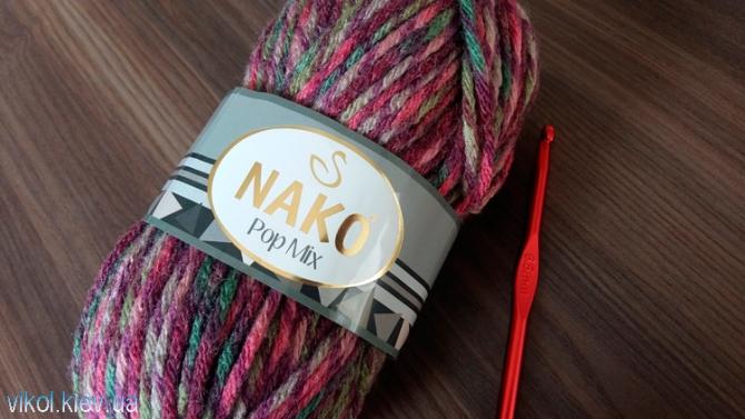Пряжа для вязания Nako Pop Mix для шарфа снуда