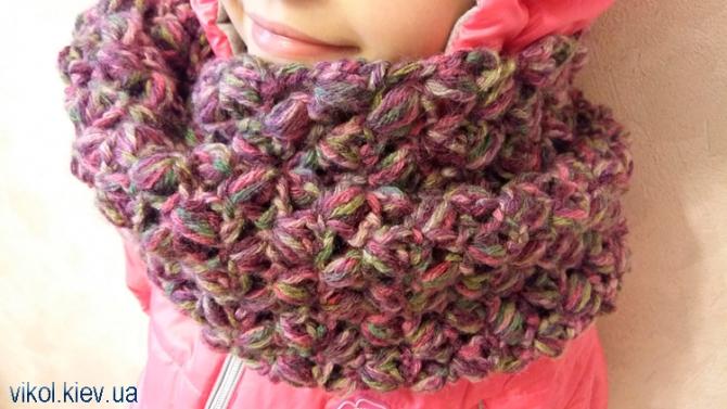 Меланжевый шарф снуд вязаный крючком по схеме на заказ купить в Киеве