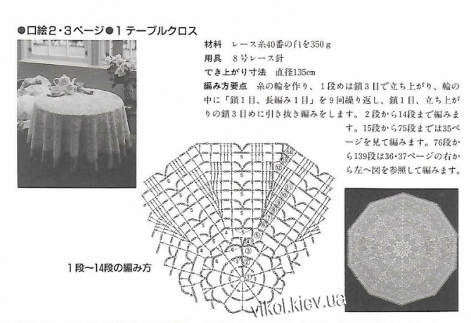 Схема большой скатерти вязаной крючком часть 1