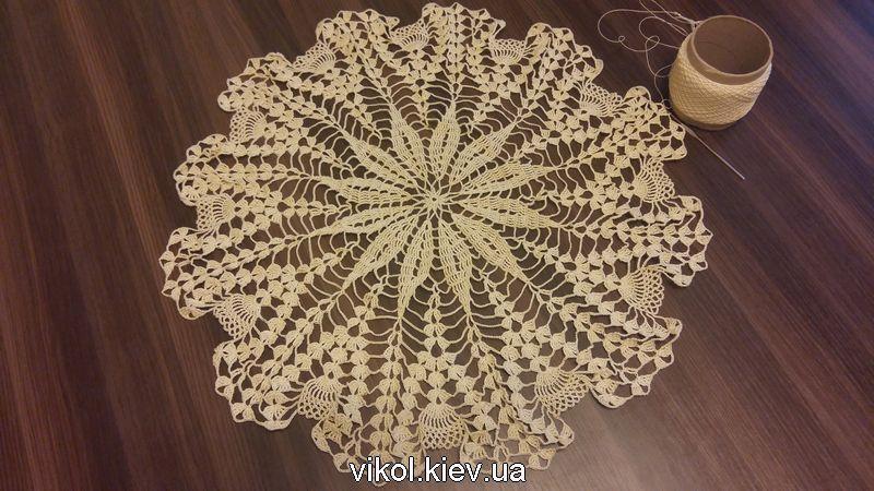 Вязание большой скатерти с ананасами 24-28 ряд