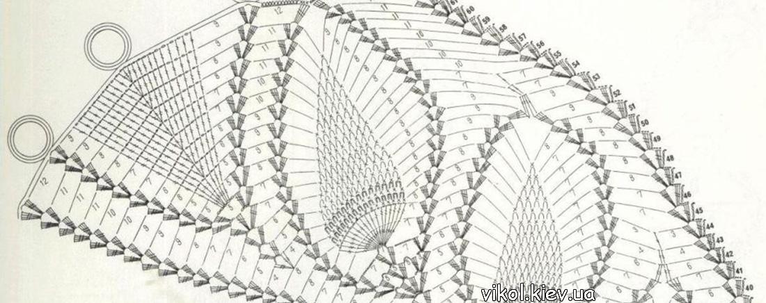 Схема вязания крючком большой скатерти с ананасами