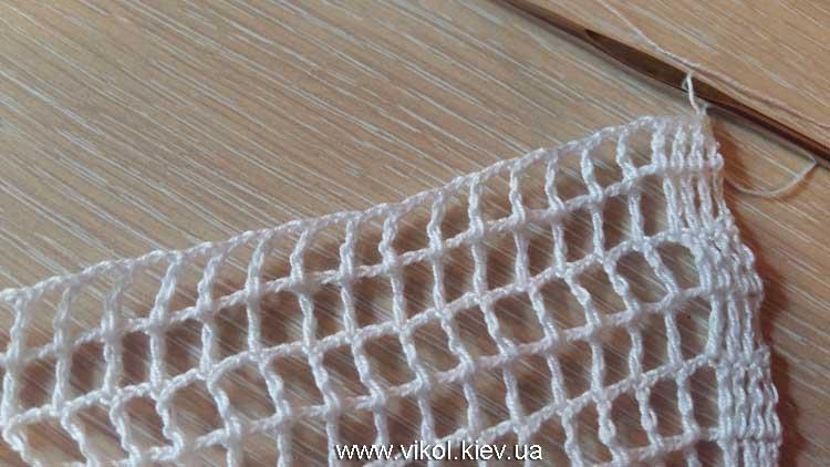 Узор сеточка вяжем крючком на жалюзи