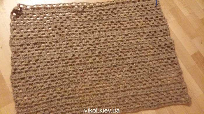 вязание джутового коврика крючком
