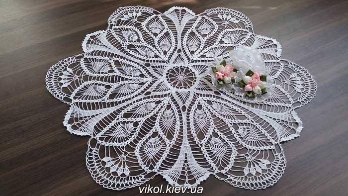 Большая салфетка крючком Перо павлина купить в Киеве