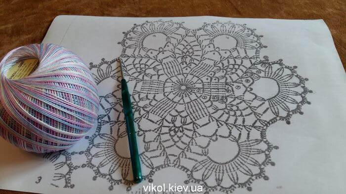 Материалы для вязания круглого мотива