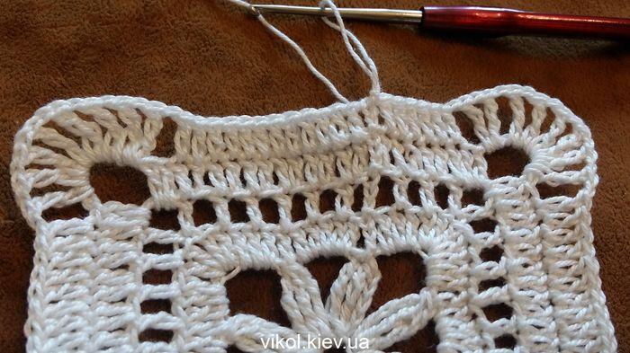 Пошаговое вязание квадратного мотива крючком