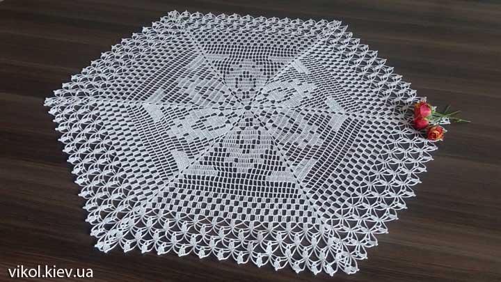 Красивая шестигранная вязаная салфетка схемы
