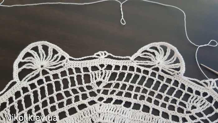 Ажурное вязание круглой восьмиугольной салфетки крючком