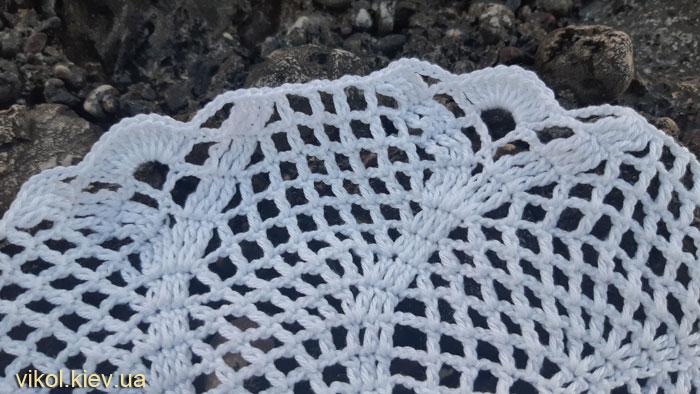 Ажурный узор в вязании крючком салфетки