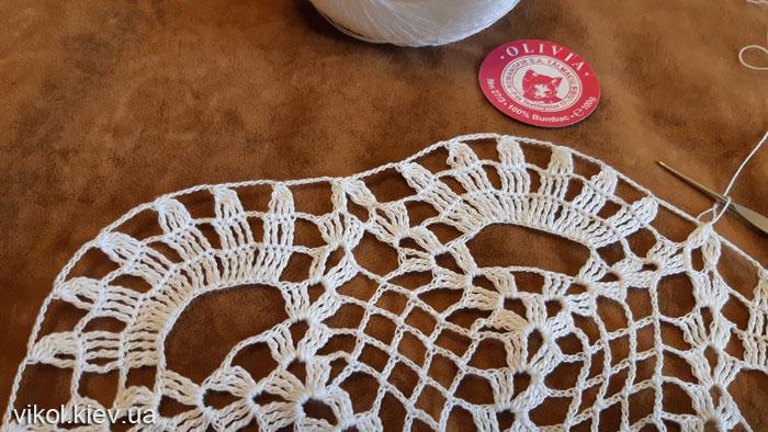 Красивый узор в вязании салфетки
