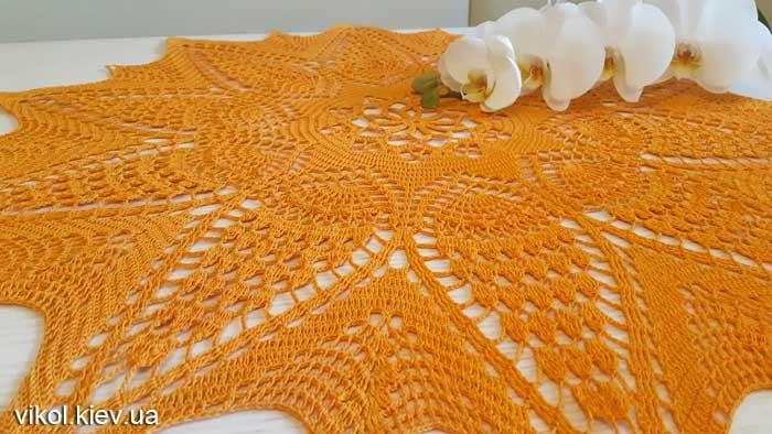 Вязание салфетки большой круглой салфетки Солнечная на заказ купить Киев