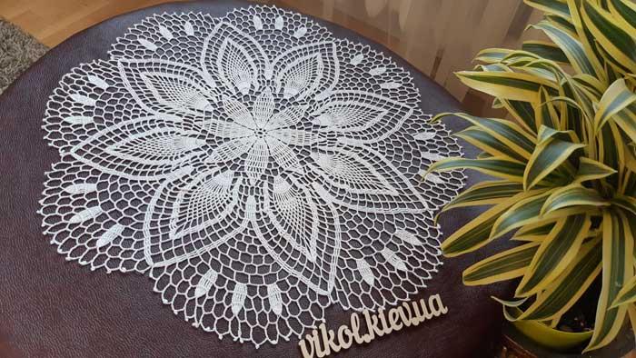 Вязание тонкой салфетки крючком Нежность хризантемы своими руками на заказ Киев