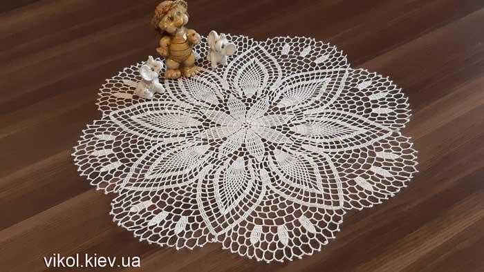 Вязаная тонкая круглая салфетка Нежность хризантемы купить в Киеве