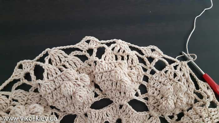 Вязание салфетки с шишечками своими руками