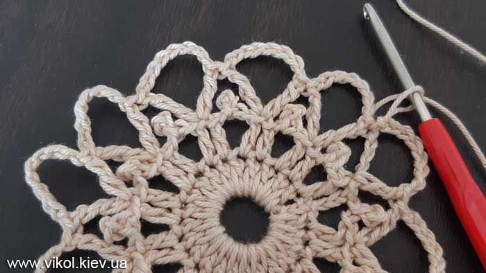Круглая салфетка крючком по схеме вяжем шишечками