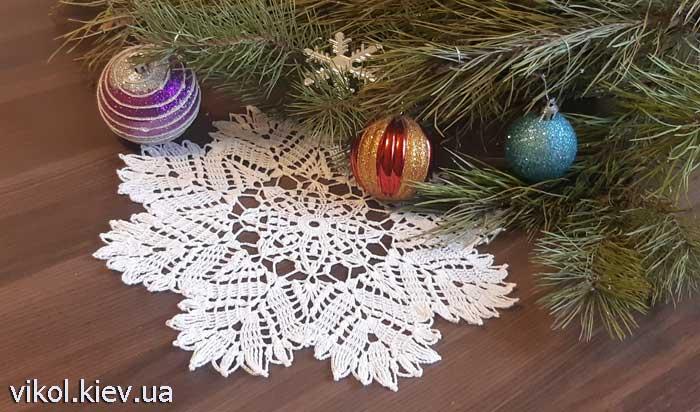 Ажурная круглая салфетка снежинка вяжем крючком на заказ