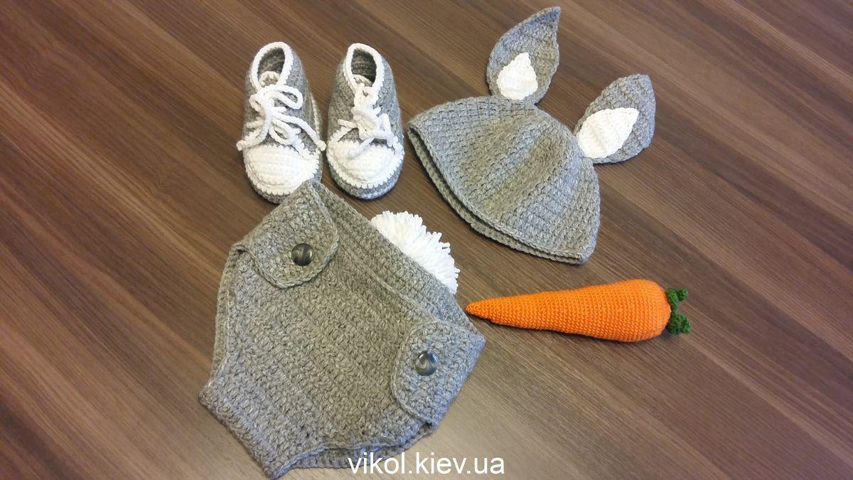 вязаный костюм зайца, заец крючком одежда, костюм для фотосессии новорожденным купить в киеве