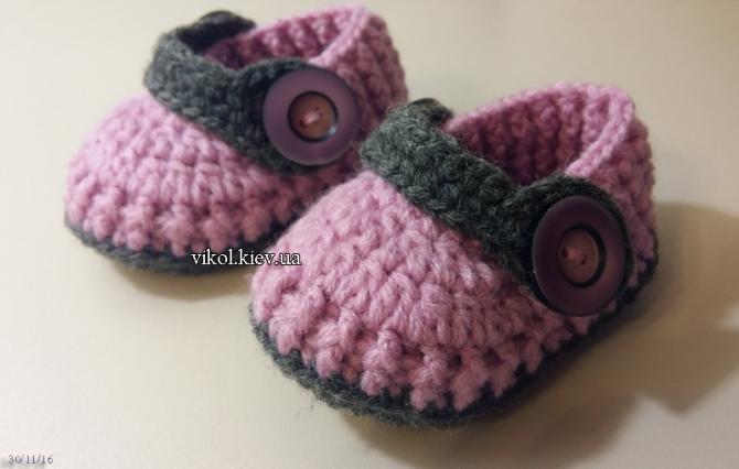 Вязаная обувь для новорожденных пинетки крючком
