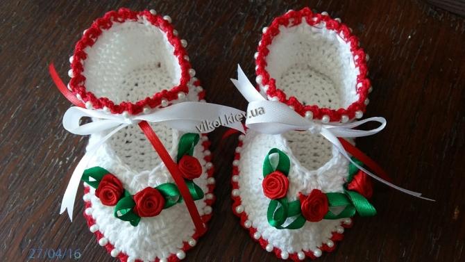нарядные туфельки девочке крючком вязаные