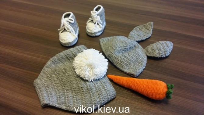 Костюм Зайца вязаный для новорожденного к фотосессии на заказ