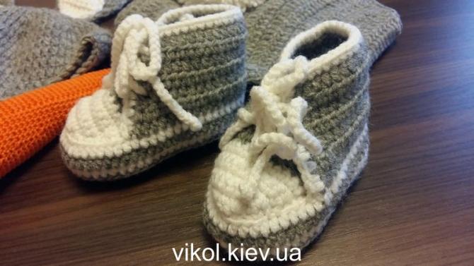 Двухцветные кеды крючкомпод костюм Зайца новорожденному для фотосессии в Киеве