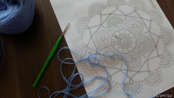 Схема и нитки с крючком для вызания салфетки