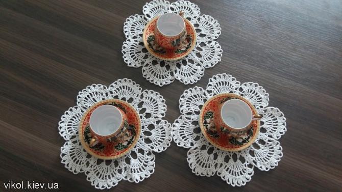 Салфетки под чашки ажурные круглые купить на заказ
