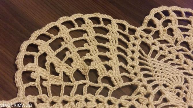 Описание вязания ажурной салфетки