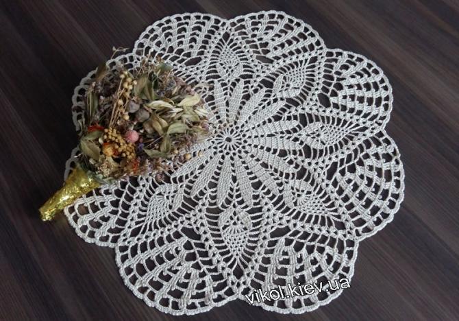 Салфетка ажурная круглая на стол в наличии