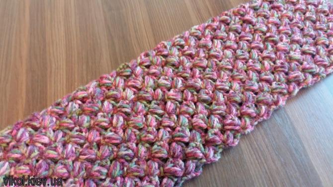 Узор меланжевого шарфа снуда вязаного крючком на заказ в Киеве
