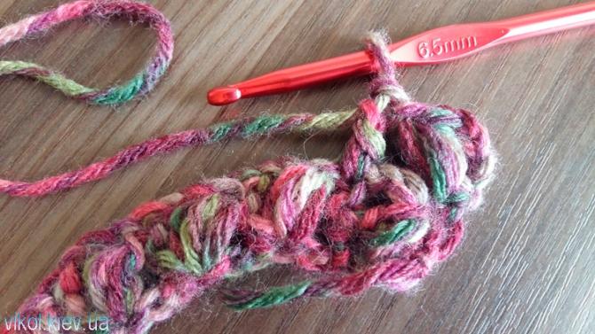 Подъем узором крючком на второй ряд в шарфе снуде фото