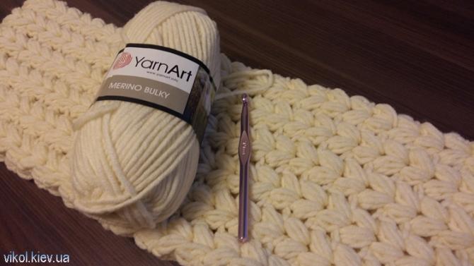 Используемые материала для вязание толстого шарфа снуда