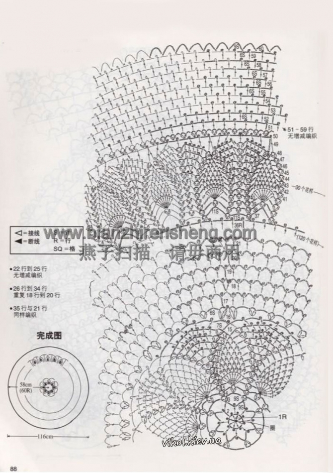 Схема небольшой вязаной скатерти на столик