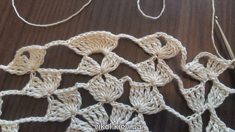 Вязание крючком основания для ананаса из столбиков веера