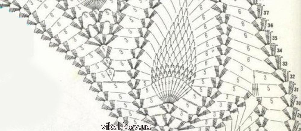 Вяжем скатерть по схеме ряды 29-34