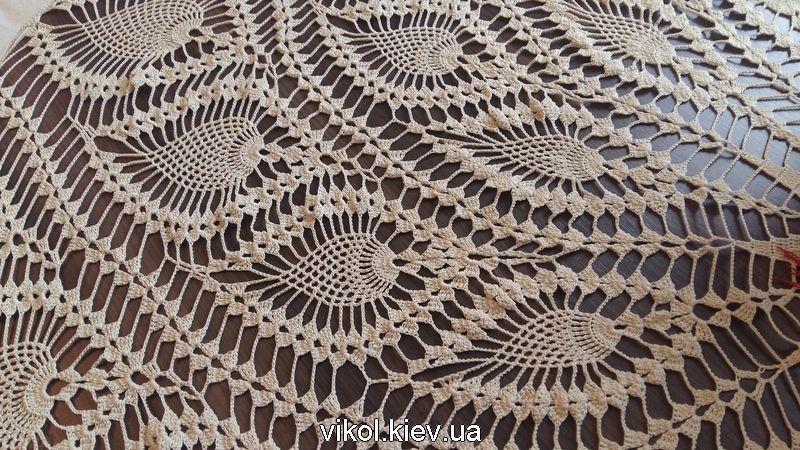 Вязание скатерти крючком на круглый стол из ананасов на заказ в Киеве