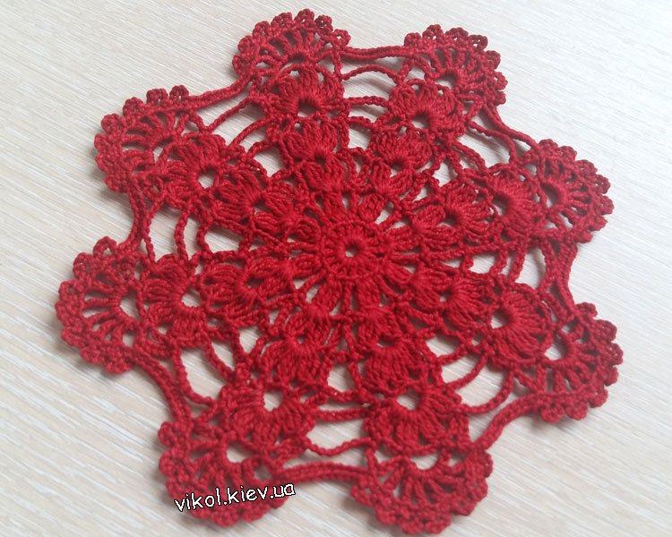 Красный мотив салфетка вязание крючком своими руками и на заказ
