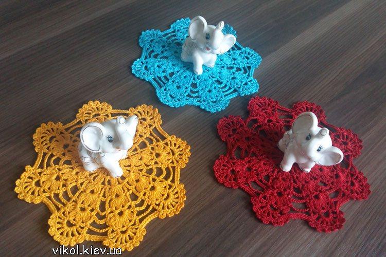 Маленькие салфетки мотивы вяжем крючком на заказ купить в Киеве