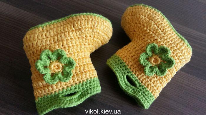 Крючком вязаные пинетки сапожки для новорожденных купить в Киеве