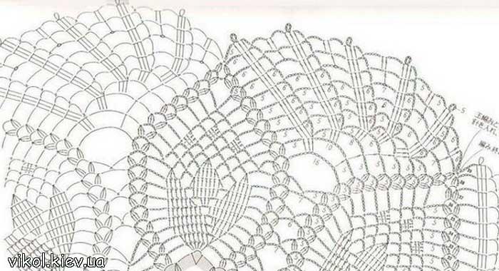 Схема для вязания круглой салфетки с тюльпанами