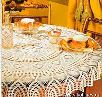 Красивая скатерть на стол вязаная крючком купитьна заказ Киев
