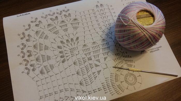 Схема и пряжа для вязания квадратной ажурной салфетки