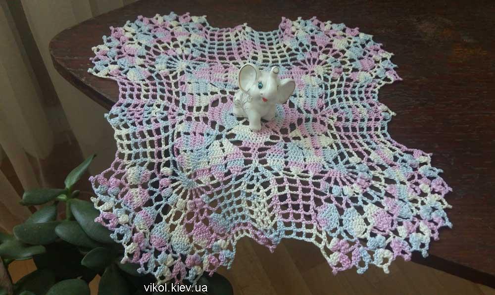 Вязание ажурной квадратной салфетки крючком на заказ в Киеве