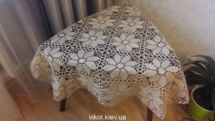 Скатерть из квадратных мотивов крючком вяжу на заказ в Киеве
