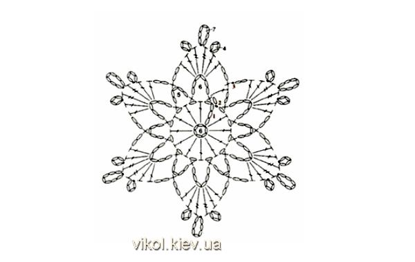 Схема вязания маленькой снежинки