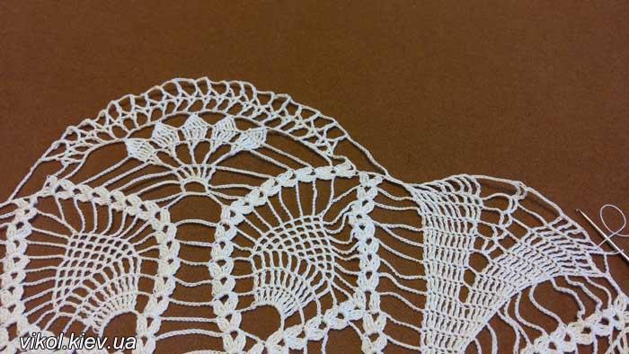красивое вязание салфетки Перо павлина по схеме с фото