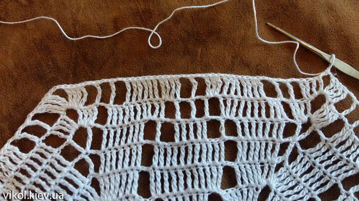 Вязание шестигранной салфетки крючком фото